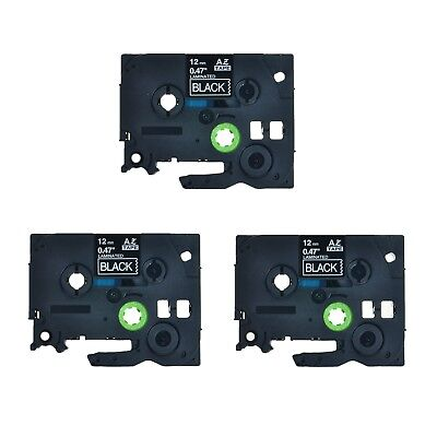 3pk Tze Tz 335 White On Black Label Tape For Brother P-touch Pt-d200 12 12mm