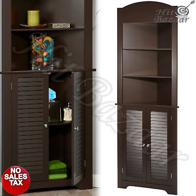 CORNER CABINET TALL Storage Furniture Bathroom Linen Kitchen Pantry Wood Organiz