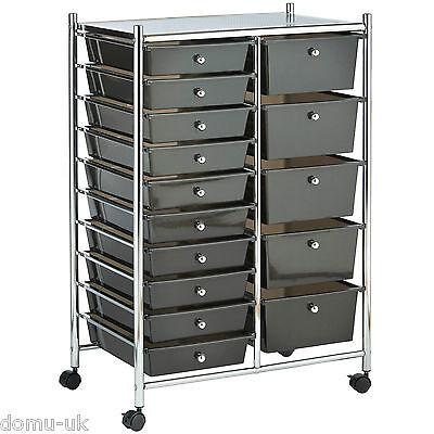 VonHaus Black 15 Drawer Home Office Salon Make Up Mobile Storage Trolley Unit