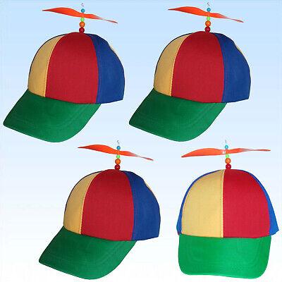 4 Baseball Cap mit Propeller Blau Rot Gelb Basecaps Kappen Käppies Mütze Caps