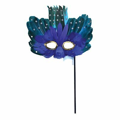 Teal Masquerade Dresses (MASQUERADE BLUE GREEN FEATHER EYE MASK Womens Fancy Dress Costume)