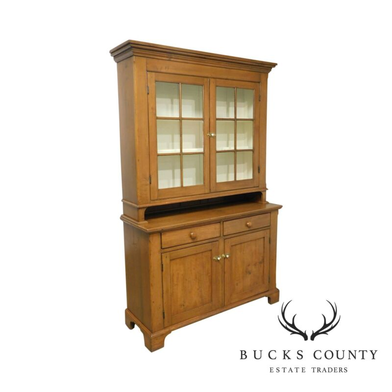 Antique 19th Century Country Pine Dutch Cupboard