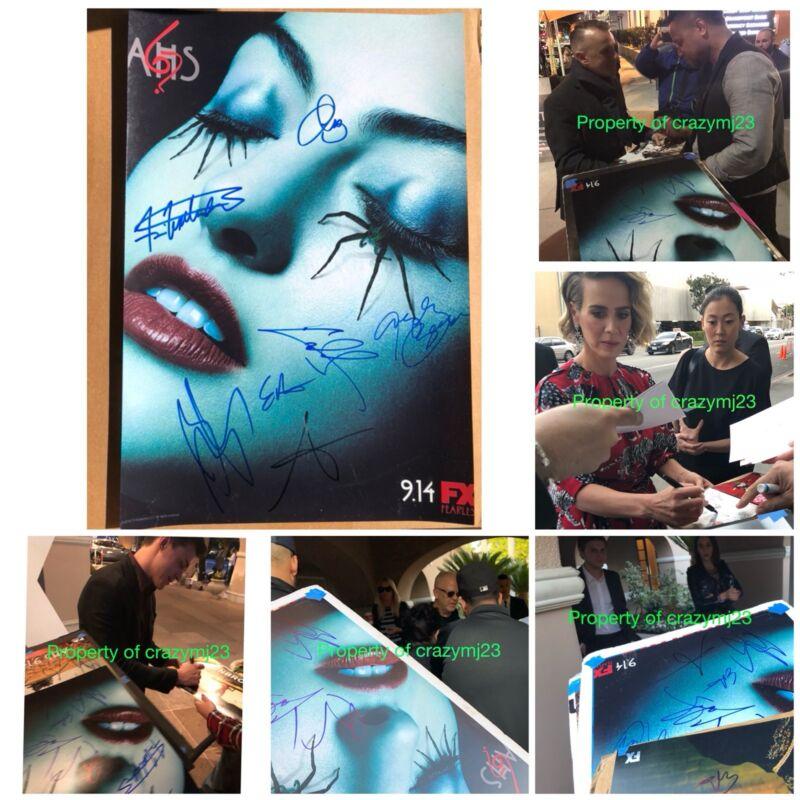 7 Cast Signed American Horror Story Evan Peters Sarah Paulson Ryan Murphy Auto