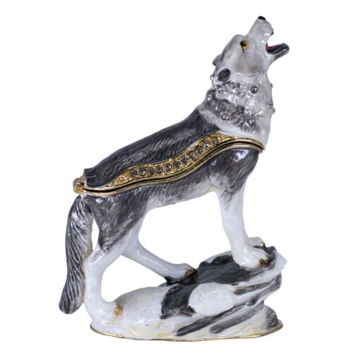 "Bejeweled Enameled Pewter Wolf Trinket Box With Austrian Crystals 3.5"" High New!"
