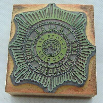 Vintage Printing Letterpress Printers Block Florida Fort Lauderdale Police