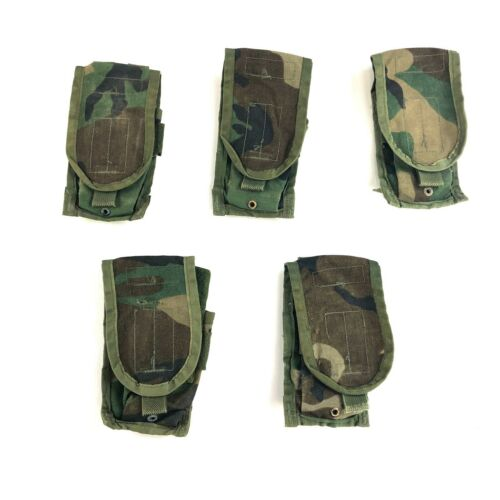5 Woodland Double Mag Pouch Army MOLLE BDU Camo USGI Military Pouches DEFECT