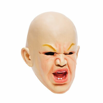 Scary Halloween Costumes Babies (Creepy Cry Baby Full Head Face Latex Scary Mask Halloween Costume Latex)