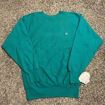 Vintage 90s Champion Green Reverse Weave Embroidered Sweatshirt Sweater Sz 2XL