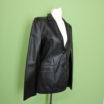 Vintage 90s Leather Club London Jacket UK 10 Black Soft Feel Leather Blazer