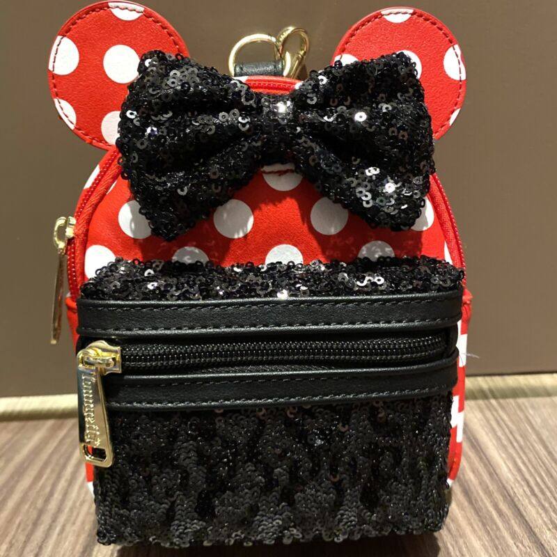 Disney Loungefly Minnie Mouse Black Sequin Red w/White Polka Dots Wristlet NWT