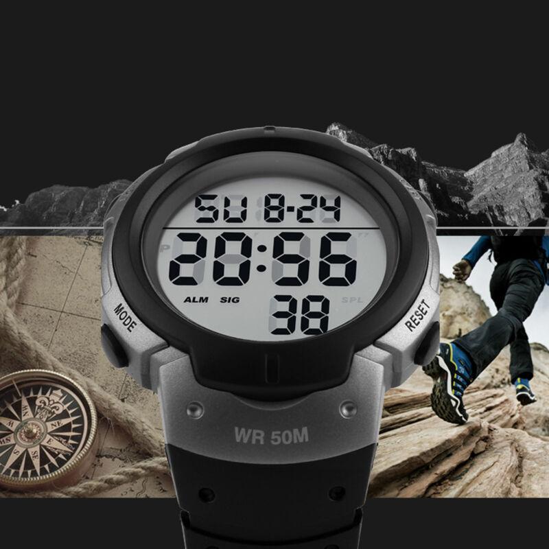 Waterproof Military Mens Watches LED Digital Alarm Date Hiking Swim Sport
