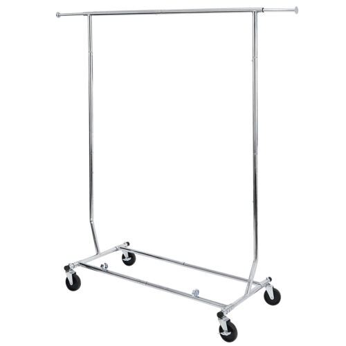 Adjustable Height Clothing Garment Rack Rolling with Wheels 17lbs Indoor Closet Organizers