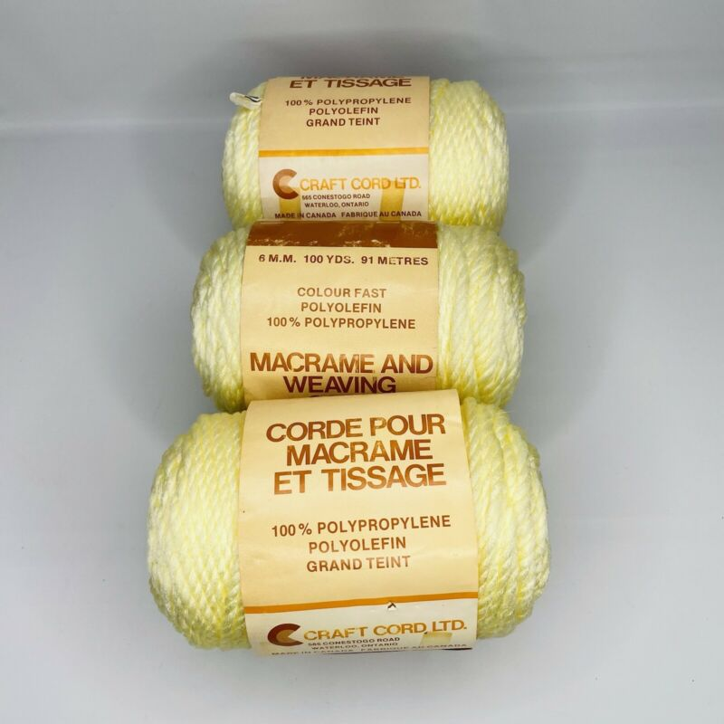 3 Skein Vintage Braided Cord for Macrame Weaving LT. Yellow 100 Yards 6 mm New