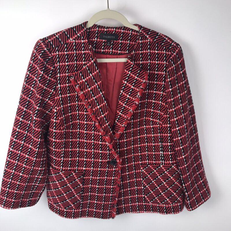New Talbots Size 16 Red Checker Plaid Blazer Jacket Career Cotton Button