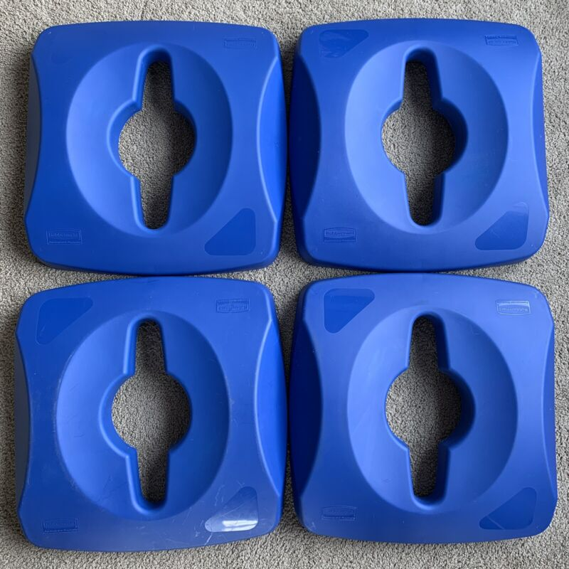 """(4) Rubbermaid Untouchable Single Stream Recycling Top 1788374, 16"""" Square, Blue"""