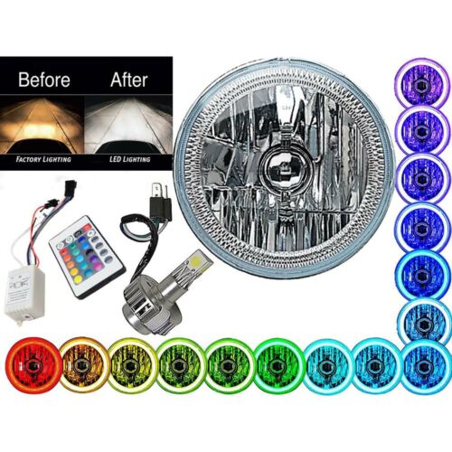 "5-3/4"" IR RGB COB Color Change Halo Angel Eye H4 6000K LED Motorcycle Headlight"