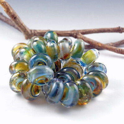 "8 Handmade Lampwork Glass Beads, Artist made Beads - ""Country Road"""