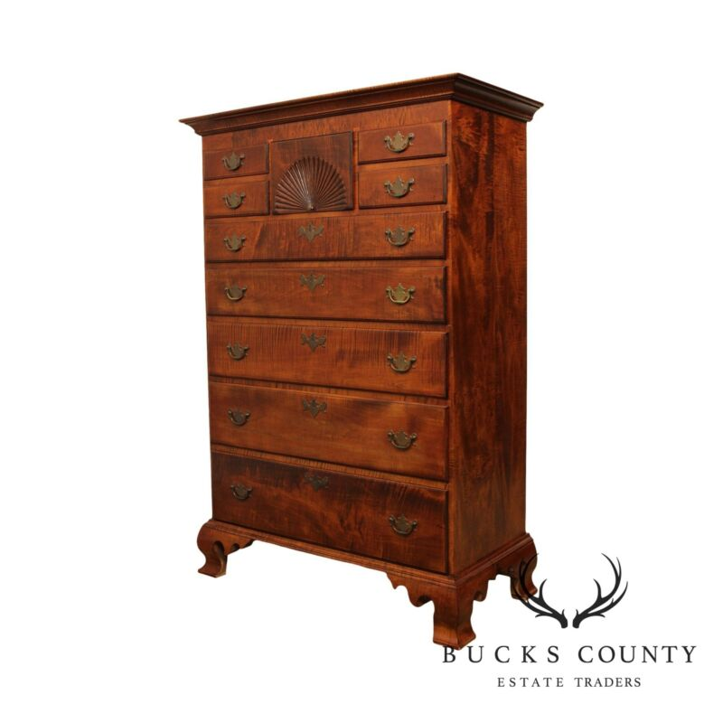 Tiger Maple Chippendale Style Hand Crafted Tall Chest