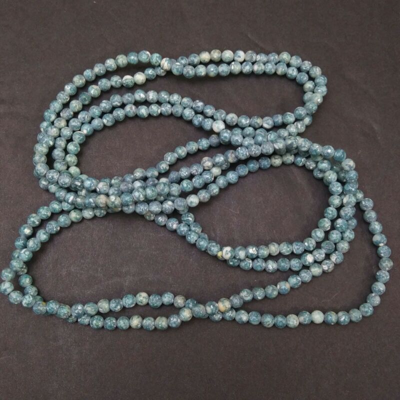 """MAMAS ESTATE 4mm ROUND STONE BEADED NECKLACE CONTINUOUS 58"""" #D7-16"""