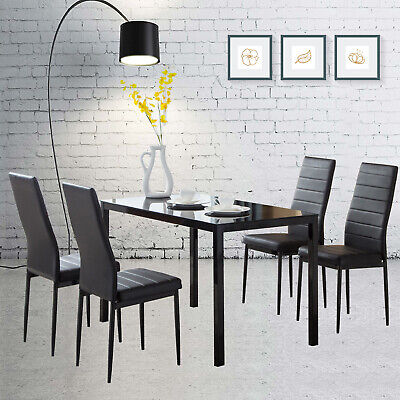 5 Pieces Dining Set Glass Metal Table and 4 Chair Kitchen Dining Room (New Dining Room)
