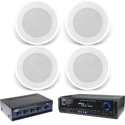 "In-Ceiling 8"" 150W Speakers, USB Bluetooth Pyle Home Receiver, Speaker Selector"