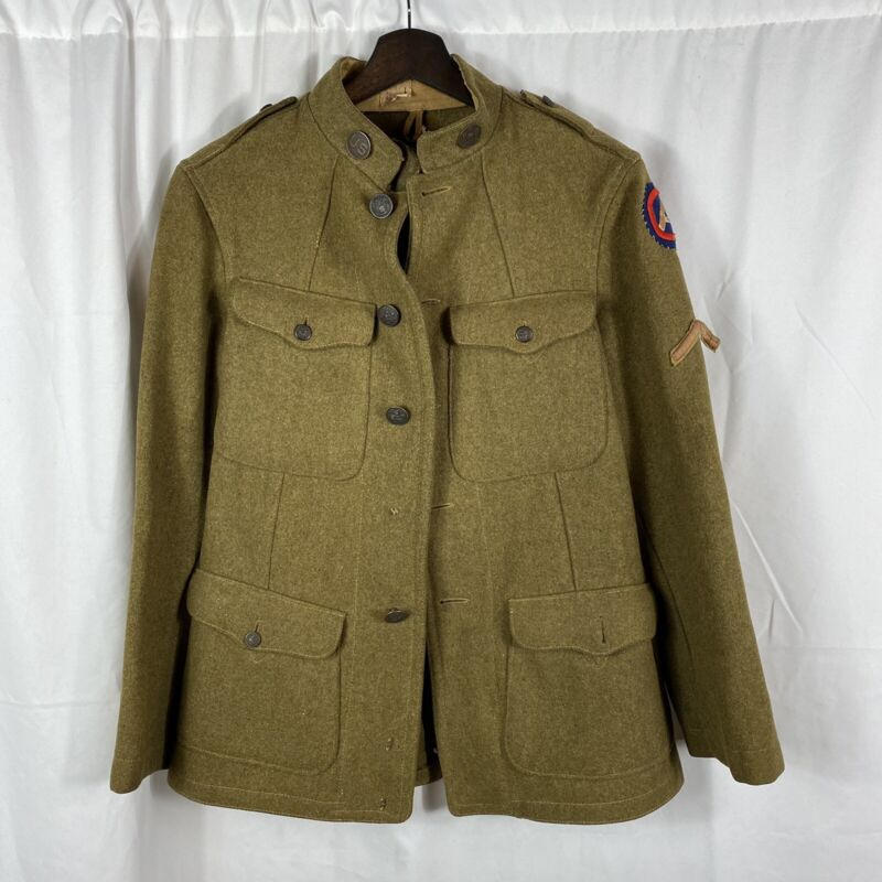 Original WW1 Us Army Winter Tunic 3rd Army Patch Engineers Collar Discs