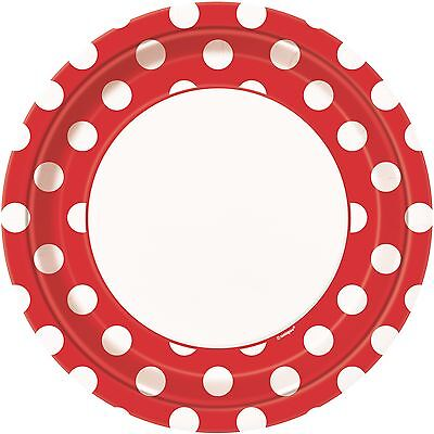 Ruby Red & White Polka Dot   Dots 23cm Paper Party Dinner Plates 1-48pk - Red White Polka Dot Party Supplies
