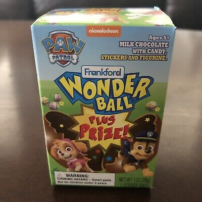 New Frankford Wonderball PLUS Prize Surprise Egg Toy Paw Patrol Chocolate