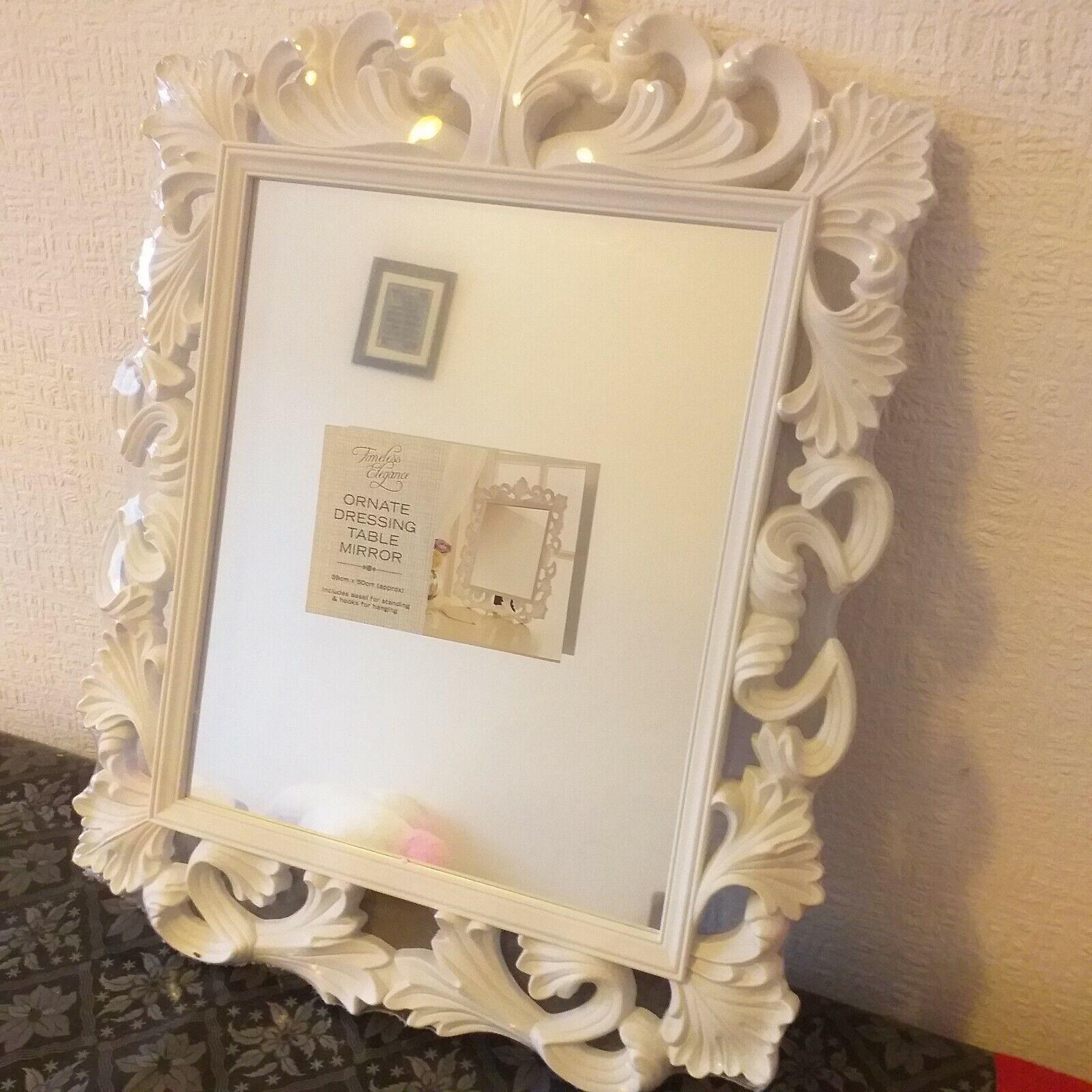 mirror - vintage ornate white dressing table mirror rectangle bathroom mirror home decor