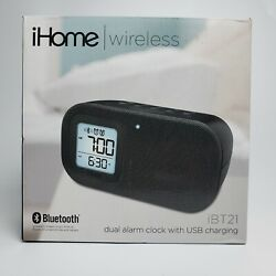 New iHome iBT21 Bluetooth Bedside Dual Alarm Clock with USB Charging Port