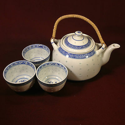 Chinese Blue & White Rice Tea Pot & 3 Cups (set of 4)