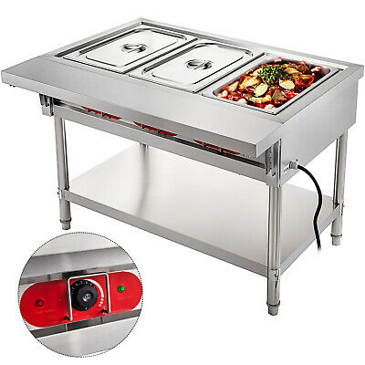 Steam Table Food Warmer Buffet 3 Pans Steamer Bain Marie Restaurant 110v 1500w
