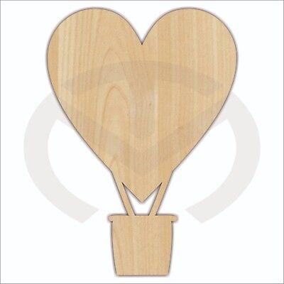 Unfinished Wood Heart Hot Air Balloon Laser Cutout, Wreath Accent, Door Hanger
