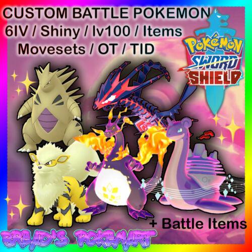 POKEMON SWORD and SHIELD / Any Custom 6IV ✨SHINY✨ Battle Pokemon of your choice!