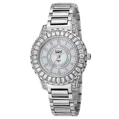 New Women's Burgi BUR095SS Swiss Quartz Diamond MOP Silver-tone Bracelet Watch