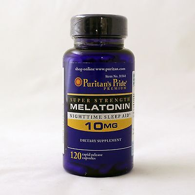 Puritans Pride Super Strength Melatonin 10 Mg 120 Capsules Sleep Aid