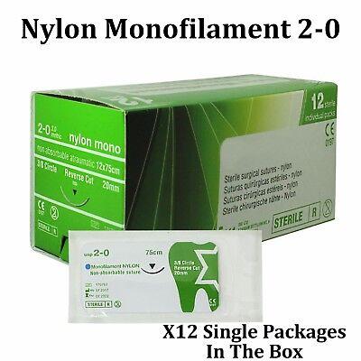 Nylon 20 Surgical Suture First Aid Use Trauma Wound Treat 12 Pcs