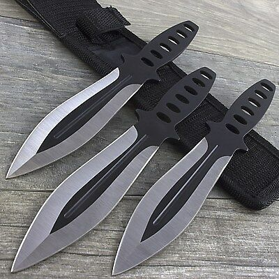 3 PC NINJA THROWING KNIVES SET w/ SHEATH Kunai Combat Tactical Hunting Knife