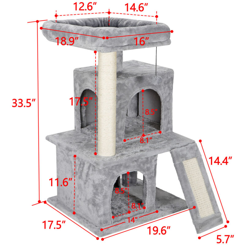 Cat tree Tower Great For Multiple Cats Scratcher Play House Condo Pet House 34""