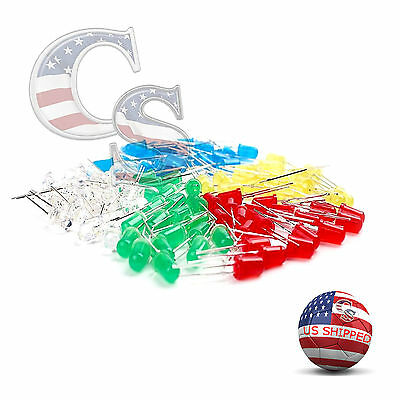 100 Pcs 5mm Led Light White Yellow Red Blue Assortment Kit Diy For Arduino