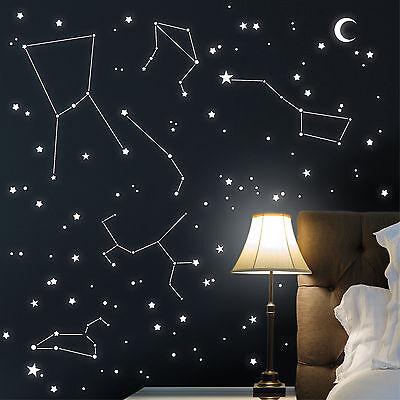 adesivi luminosi SEGNI ZODIACALI stelle punti LUNA 300stk.12292 wandtattoo-loft