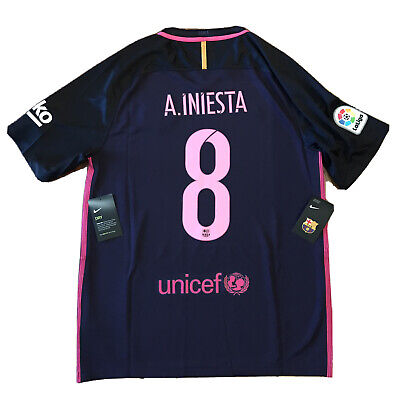 2016/17 Barcelona Away Jersey #8 A.INIESTA Large Nike Soccer Football NEW image