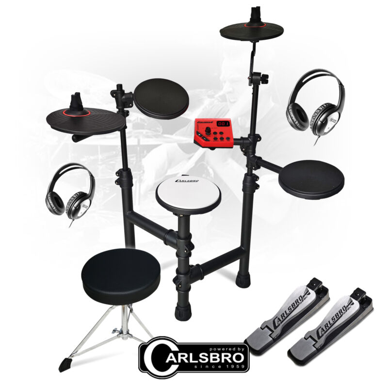 Silent Practice Drum Set 5 Pad Electric Digital Kit with Stool and Headphones