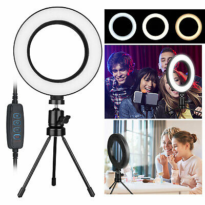 LED Selfie Ring Light w/Tripod Stand Dimmable For Phone Vide