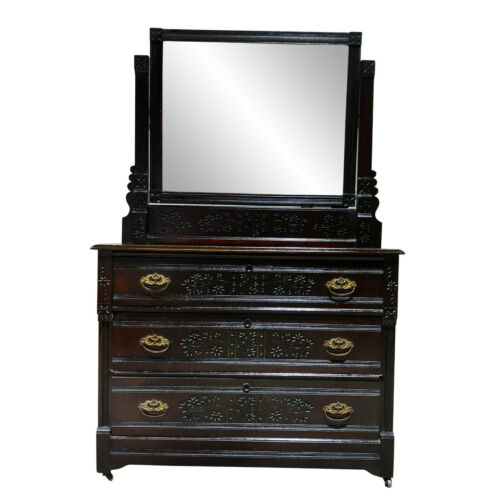 Antique Eastlake Victorian Country Farmhouse Carved Walnut Mirrored Dresser