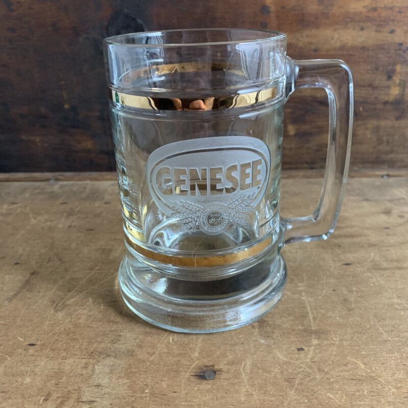 Vintage Glass Genesee Beer Mug Gold Stripes Classic Beer Stein