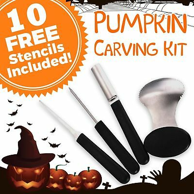 Professional 4-Piece Reusable Stainless Steel Pumpkin Carving Tools Kit +Stencil