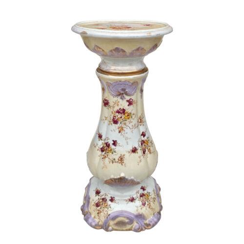 Antique Victorian Porcelain Painted Floral Jardiniere Plant Stand Pedestal