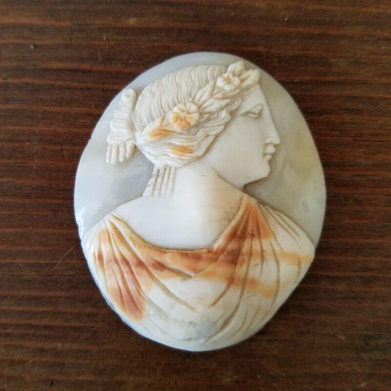 Rare Antique Hand Carved Greek Shell Cameo