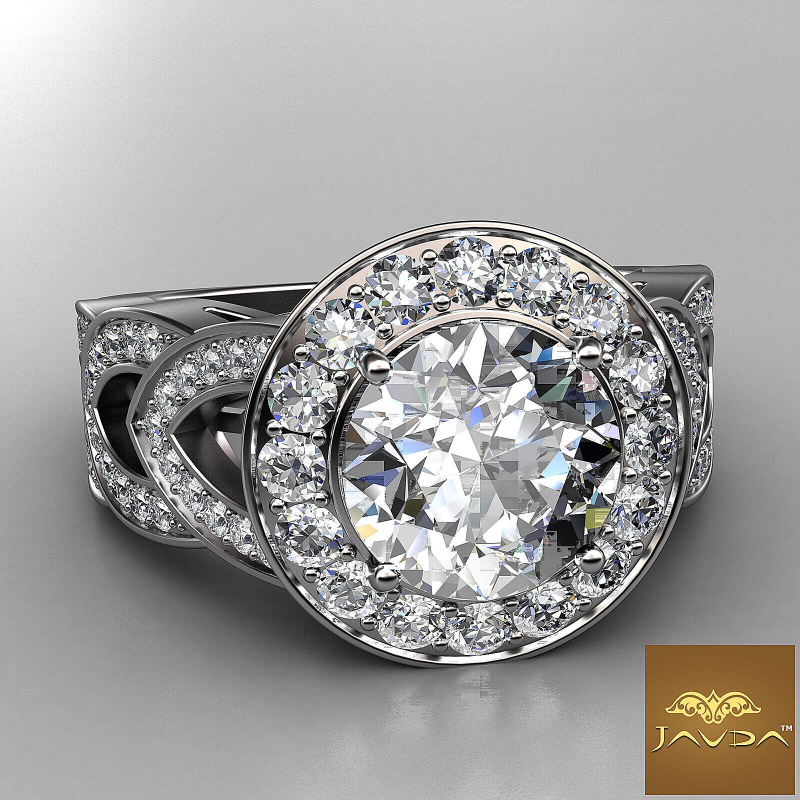 2.25ct Round Diamond Engagement Designer Halo Set Ring GIA F VVS2 14k White Gold 1